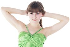 Free Green-eyes Lady Posing Over White Background Royalty Free Stock Images - 13610999