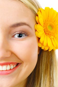 Free Happy Blond Woman With Flower Royalty Free Stock Photo - 13611365