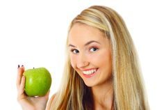 Free Woman With Green Apple. Stock Image - 13611441
