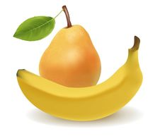 Yellow Banana And Pear. Stock Images