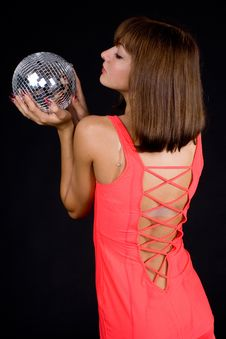Free Girl With Discoball Royalty Free Stock Images - 13612149