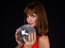 Free Girl With Discoball Royalty Free Stock Image - 13612206