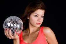 Free Girl With Discoball Royalty Free Stock Image - 13612266