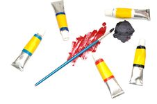 Paints And Brush On White Stock Image