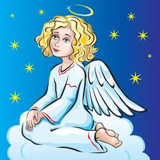 Free Angel Sitting On A Cloud Stock Images - 13612334