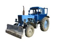 Free Old Blue Vintage Tractor Isolated Over White Royalty Free Stock Photography - 13612557