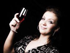 Free Elegant Woman Holding Wine Over Dark Royalty Free Stock Image - 13612676