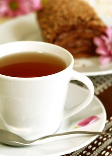 Cup Of Tea And Chocolate Cake Stock Image
