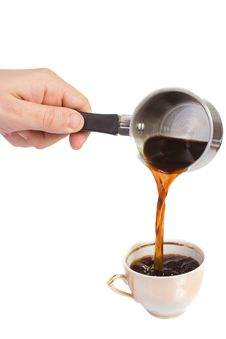 Hand Holding Coffee Pot Royalty Free Stock Photos
