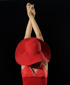 Free Woman Wearing Red Hat Isolated Stock Photography - 13613542