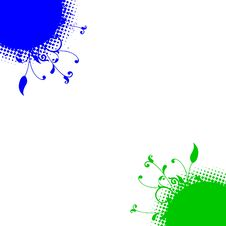 Free Blue Green Floral Dots Corners Background Royalty Free Stock Image - 13615206