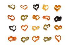 Italian Colourful Heart Shaped Pasta. Royalty Free Stock Image