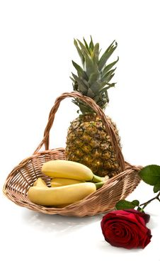 Still-life With Basket With Fruits Stock Images