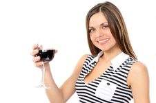 Free Portrait Of Beautiful Woman With Glass Red Wine Stock Photo - 13615600