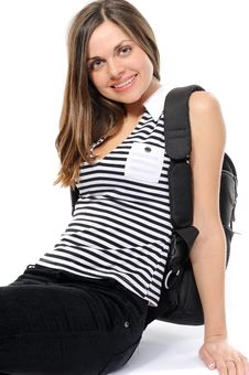 Free Young Female Student With A Backpack, Smiles Stock Images - 13615604
