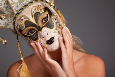 Free Young Woman Wearing Carnival Mask Royalty Free Stock Photography - 13617697