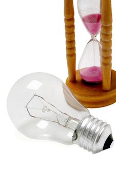 Free End Of Using Electric Bulbs-a Sandglass Countdown Stock Images - 13617954