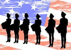 Girls On Flag Stock Photography