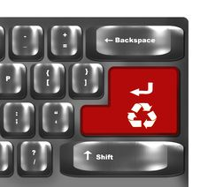 Red Button With Symbol  For Recycling Royalty Free Stock Photography