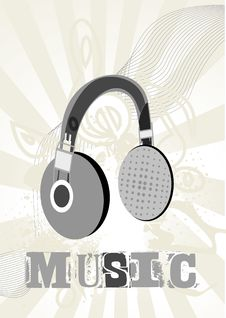 Free A Grunge Background With Headphone Stock Photos - 13618533