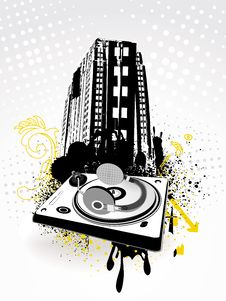 Abstract Grunge City With Music Equipment Stock Photo