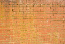 Brick Wall With Discoloration By Wet Weather. Royalty Free Stock Photos