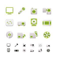 Media Equipment Icons Stock Photo
