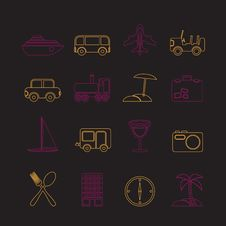 Free Travel, Transportation, Tourism And Holiday Icons Stock Images - 13619004