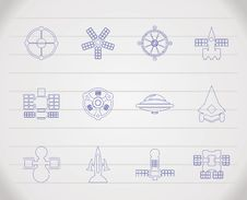Different Kinds Of Future Spacecraft Icons Stock Images