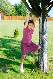 Free Girl Climbing Tree Royalty Free Stock Photography - 13619107