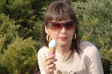 Woman With Ice Cream Royalty Free Stock Photography