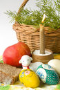 Free Easter Eggs A Candle And A Lamb Stock Image - 13628481