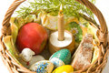 Free Basket With Easter Eggs Royalty Free Stock Images - 13629159
