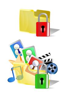 Free Lock And Unlock Folder  Internet Icons Stock Photo - 13620180