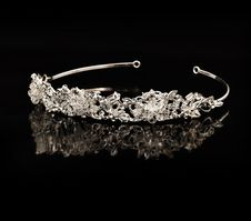 Free Diamond Diadem On A Black Background Stock Images - 13621234