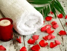 Free Spa Composition Of Towel, Candle And Red Petals Stock Photo - 13622860