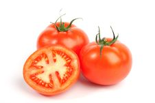 Red Tomato Vegetables With Cut Stock Image