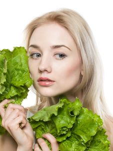 Free Girl With Lettuce Stock Photo - 13623710