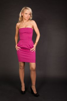 Free Nice Blond Woman In Pink Dress Stock Image - 13625181
