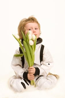Free Astronaut Boy Holding A Bouquet Royalty Free Stock Image - 13625746