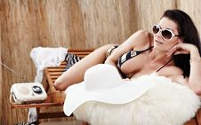 Woman Relaxing On Vacation, Royalty Free Stock Photography