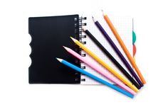 Free Notebook With A Spring And Pencils Stock Photography - 13627592