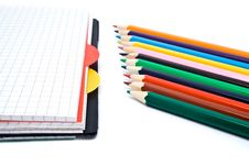Free Notebook With A Spring And Pencils Stock Photos - 13627623