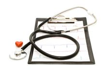 Cardiogram With Stethoscope And Heart Stock Photos