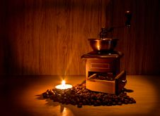 Still Life With Coffee And Candle Royalty Free Stock Photos