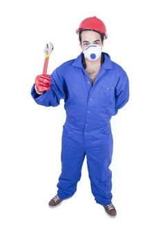 Free Worker With Wrench Royalty Free Stock Photography - 13629187