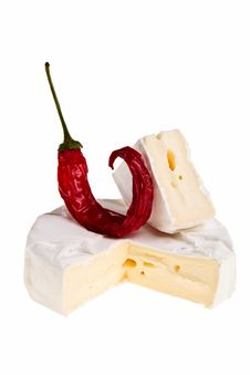 Free Round Cheese Block And Red Hot Chilli Pepper. Stock Photos - 13629753