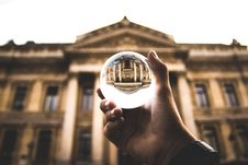 Free Clear Glass Ball On Person S Hand Royalty Free Stock Photos - 136260868
