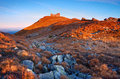 Free Black Mountain Peak On Sunset Stock Photography - 13635892