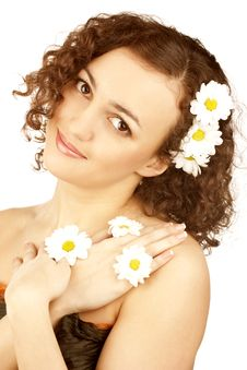 Free Beautiful Woman With Camomile Flower Royalty Free Stock Photography - 13630847